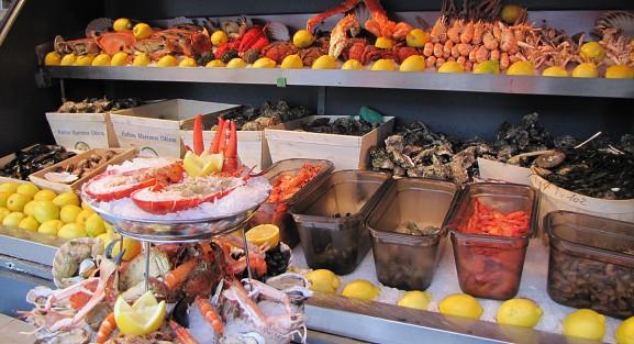 L'étal de fruits de mer